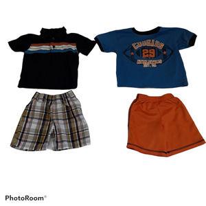 Lot of 4 Boys Shorts Shirts 2T Football Plaid